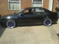Purple BBS split rims on a VW Bora